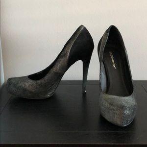 BCBG black and crushed metallic heels size 9